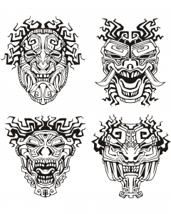 Coloriage adulte masques inspiration inca maya azteque