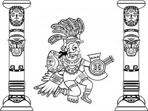 Coloriage adulte quetzalcoatl et totems