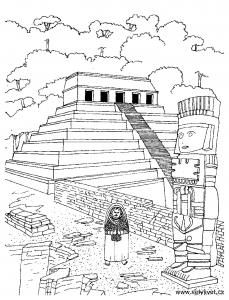 Coloriage adulte temple azteque