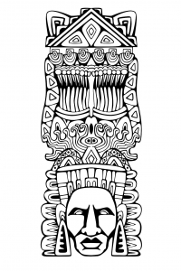 Coloriage adulte totem inspiration inca maya azteque 1