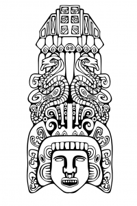 Coloriage adulte totem inspiration inca maya azteque 2