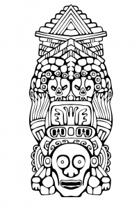coloriage-adulte-totem-inspiration-inca-maya-azteque-3 free to print