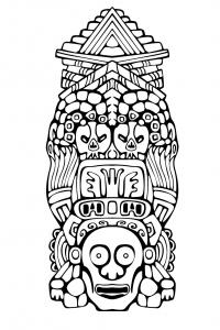 Coloriage adulte totem inspiration inca maya azteque 3
