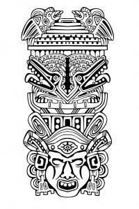 Coloriage adulte totem inspiration inca maya azteque 4
