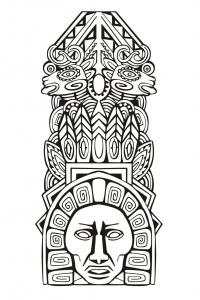Coloriage adulte totem inspiration inca maya azteque 5