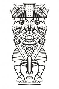 Coloriage adulte totem inspiration inca maya azteque 6