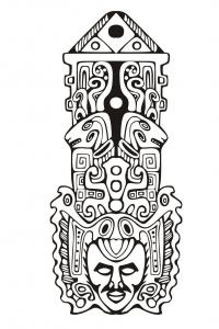 Coloriage adulte totem inspiration inca maya azteque 7