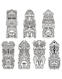 Coloriage adulte totems inspiration inca maya azteque
