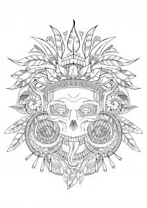 Coloriage crane azteque noir et blanc