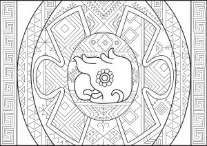 Tête d'oiseau et motifs aztèques