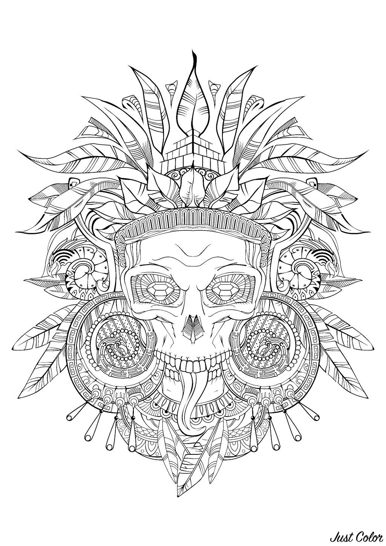Crâne aztèque - noir & blanc