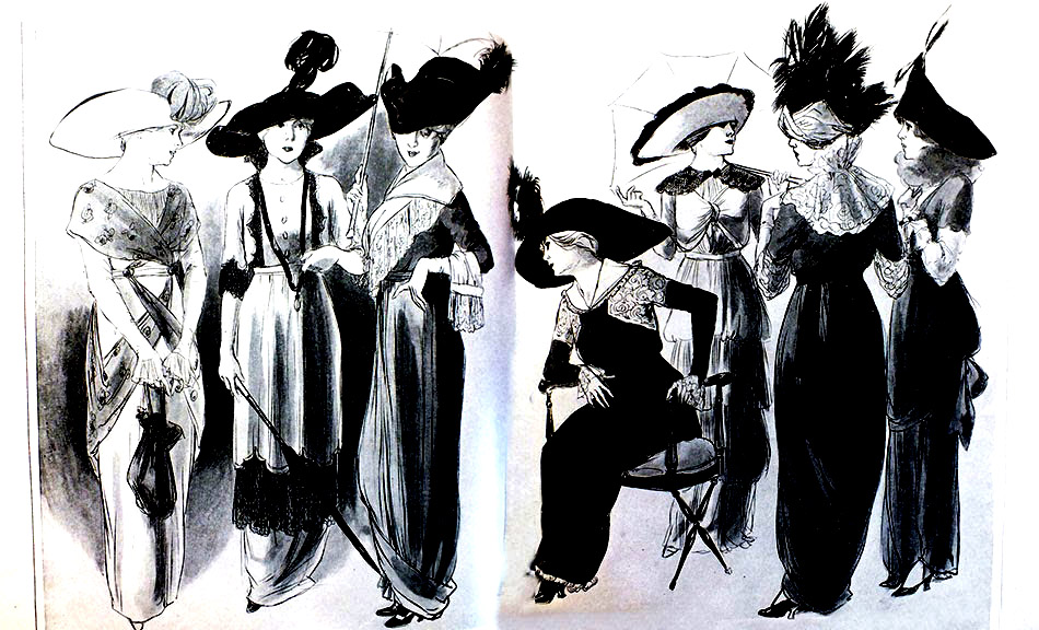 Gravure de mode style 'Garden party' datant de 1912