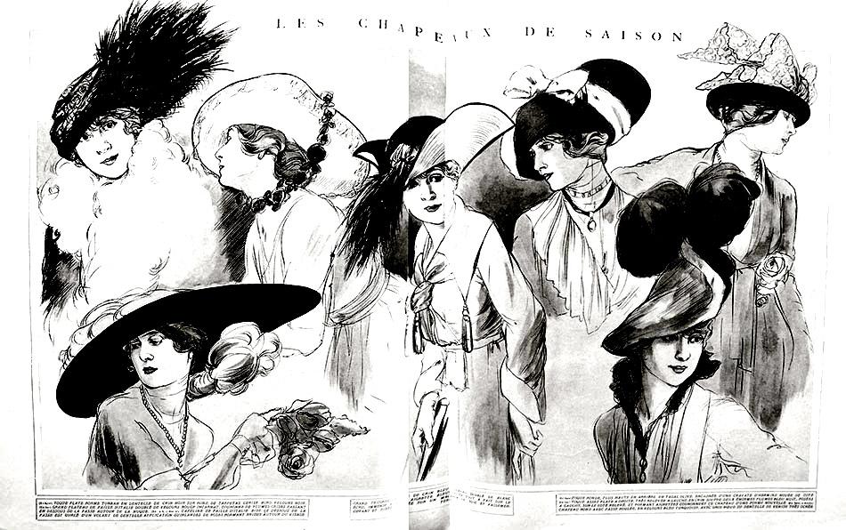 Gravure de mode sur le thème des chapeaux, datant de 1915