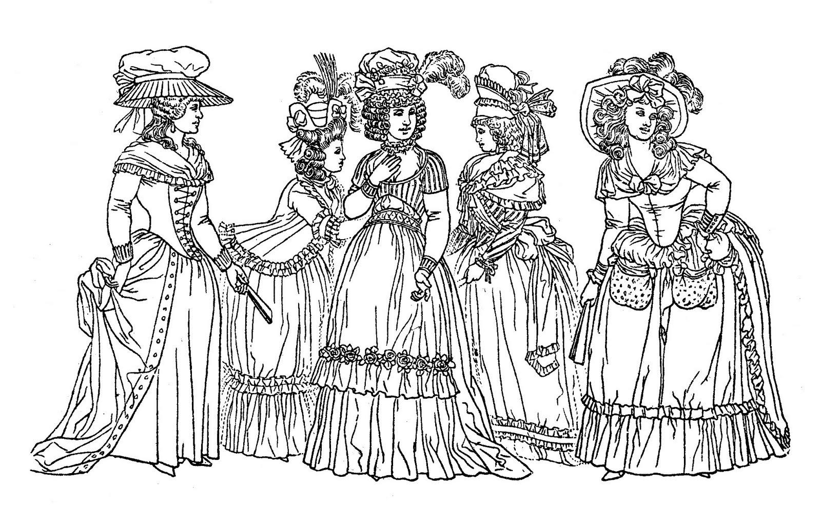 Dessin représentant des femmes du 18e siècle : une bonne représentation du style vestimentaire de l'époque