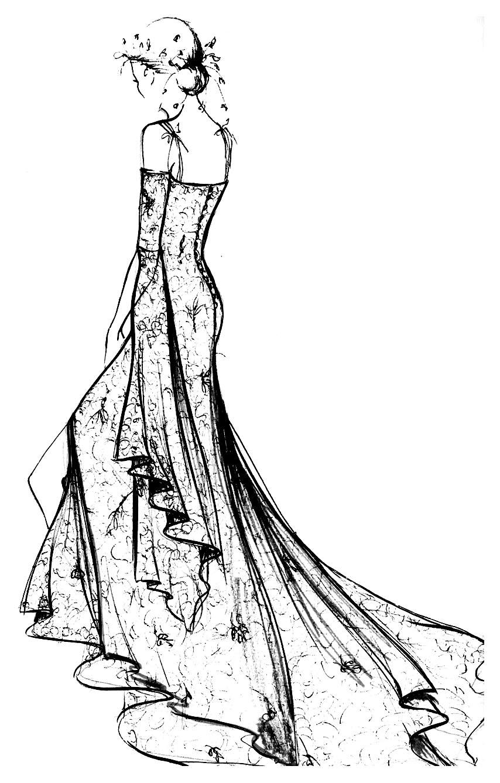Dessin noir et blanc à imprimer et colorier d'une robe à dentelle Chantilly