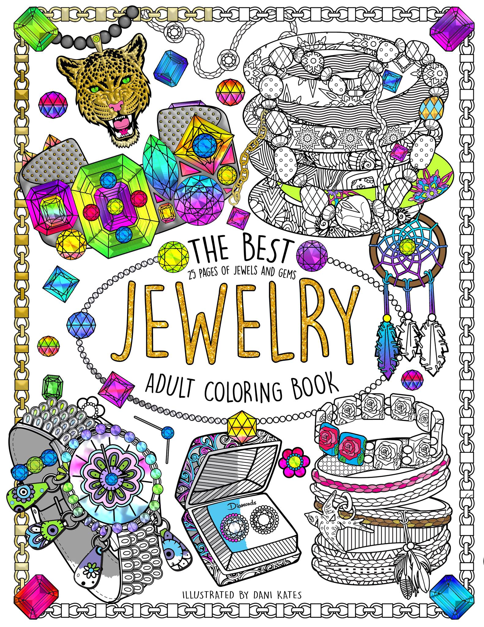 Couverture du livre 'The Best Jewelry Adult coloring book', disponible ici