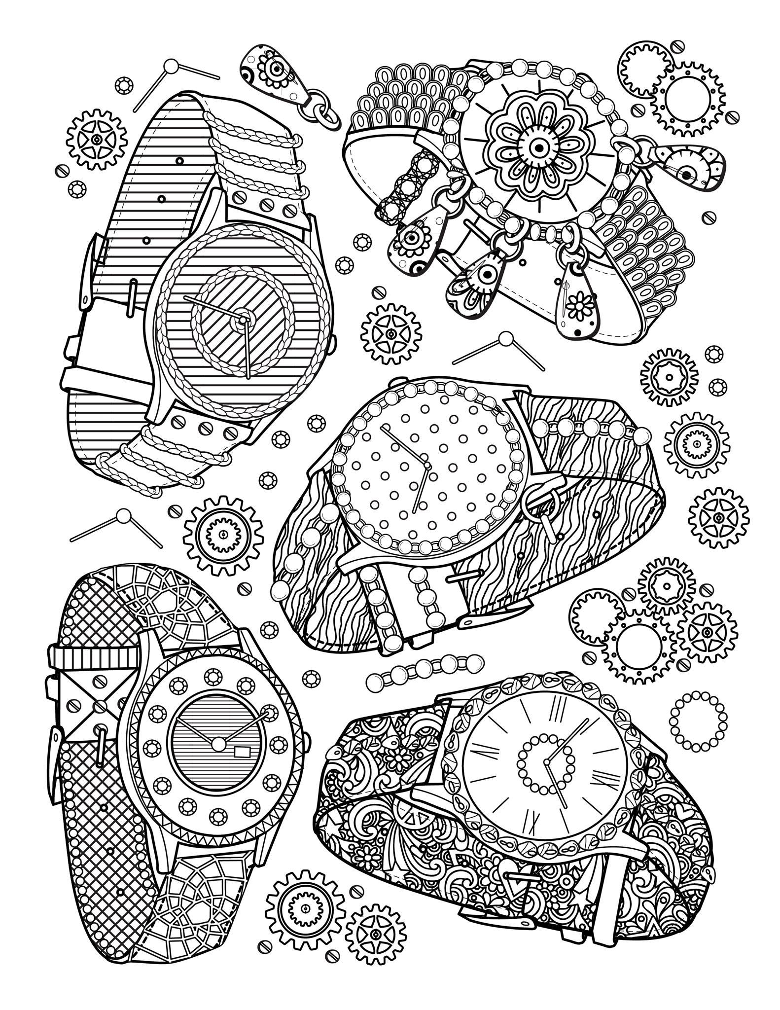 'Montres' : Une des pages du livre 'The Best Jewelry Adult coloring book', disponible ici