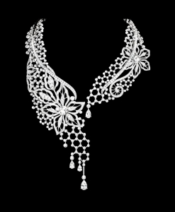 Coloriage adulte collier diamants 1