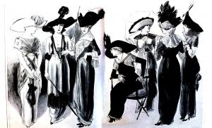 coloriage-adulte-gravure-mode-1912-gardenparty-femina free to print