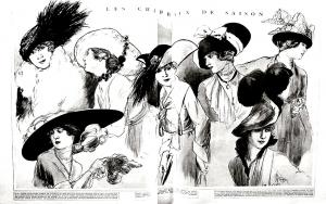 Coloriage adulte gravure mode 1915 chapeaux femina