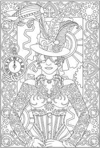 Coloriage adulte mode vetements femme horloge