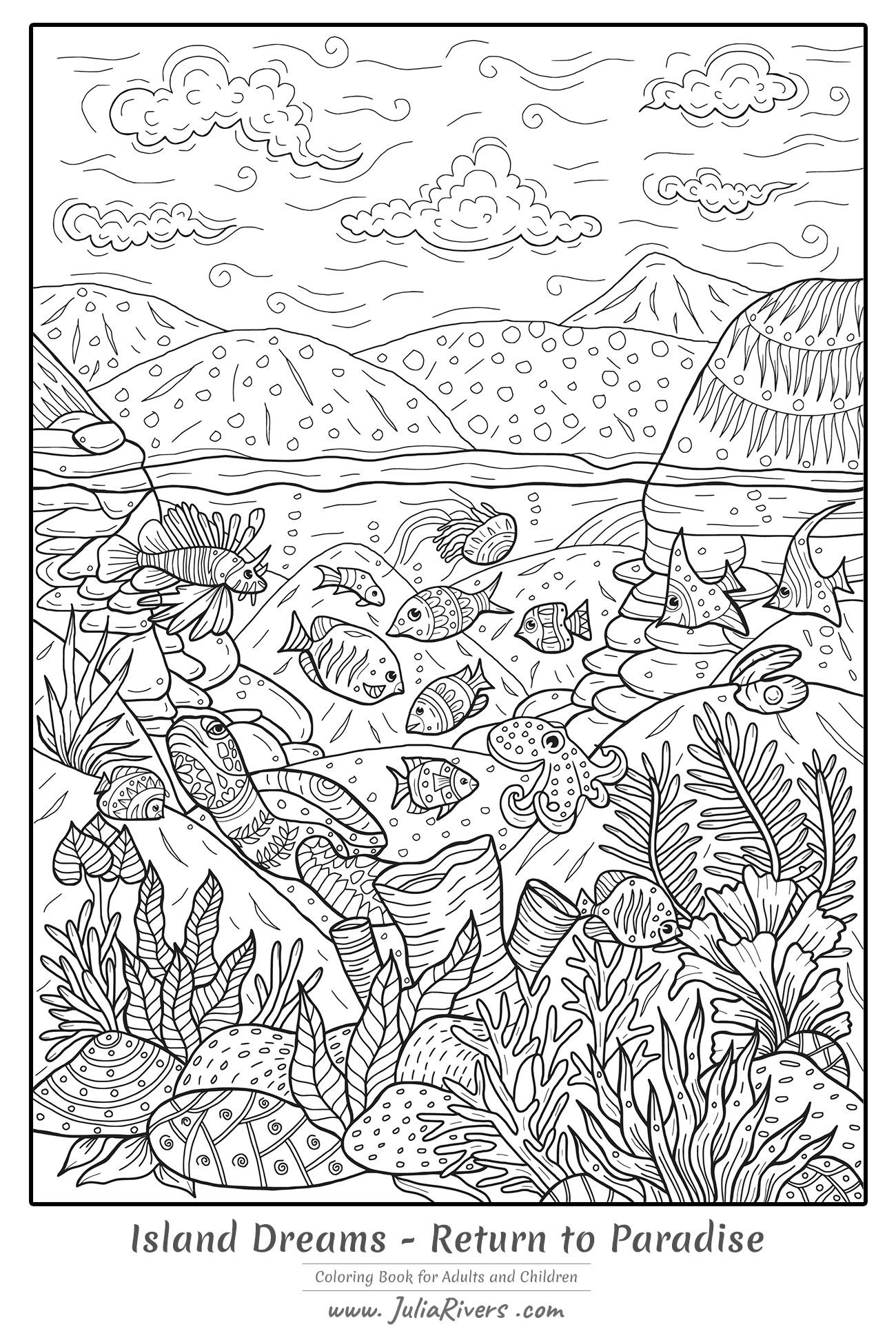 'L'île des rêves : Retour au Paradis' : Plongez dans ce magnifique coloriage représentant différentes créatures et espèces végétales sous-marines, avec un magnifique paysage en arrière-plan