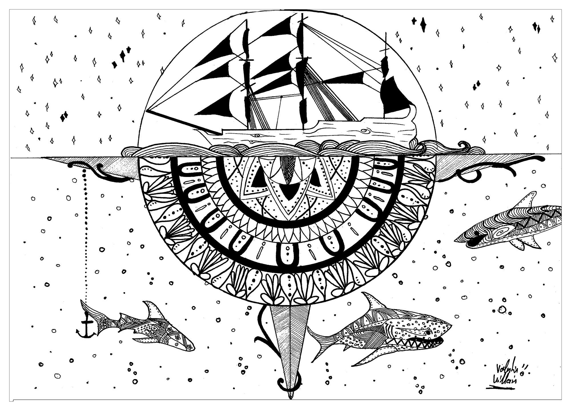 un coloriage typée Mandalas et inspirée du bateau Le Black Pearl dans Pirates des CaraÏbes