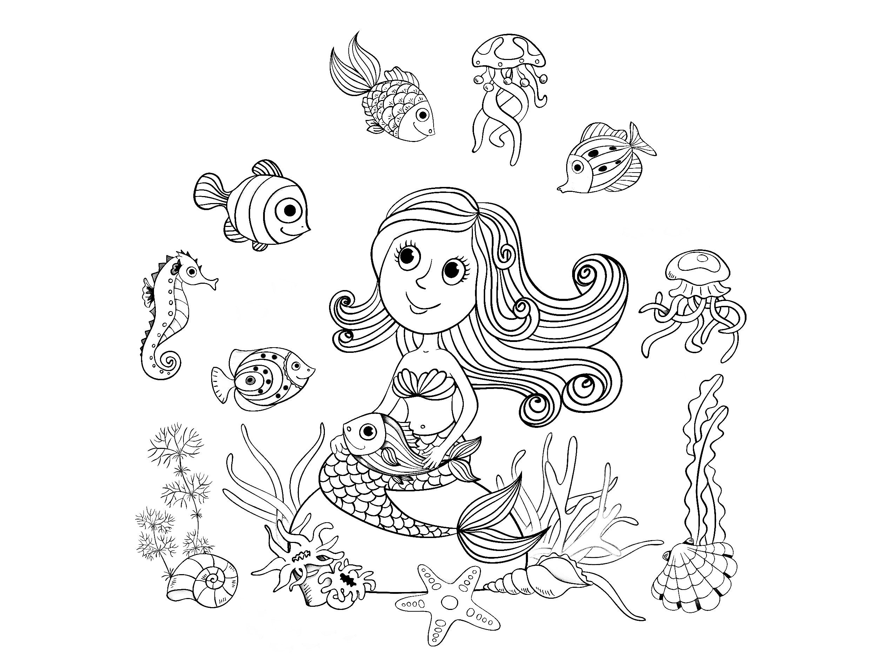 Magnifique dessin au style enfantin d'une sirène et de ses amis poissons, par Amalga | A partir de la galerie : Mondes Aquatiques