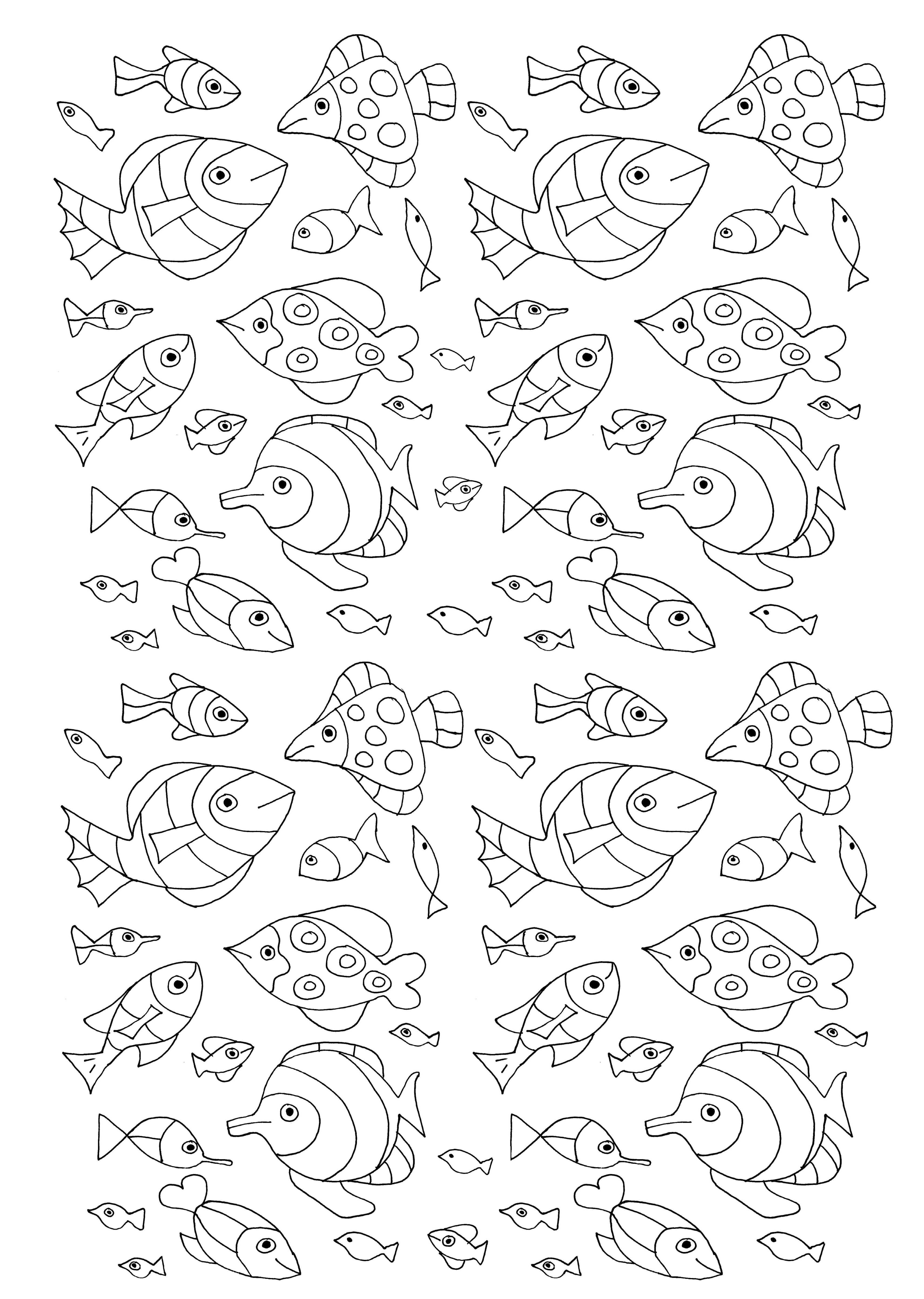 De nombreux poissons pour un coloriage aquatique