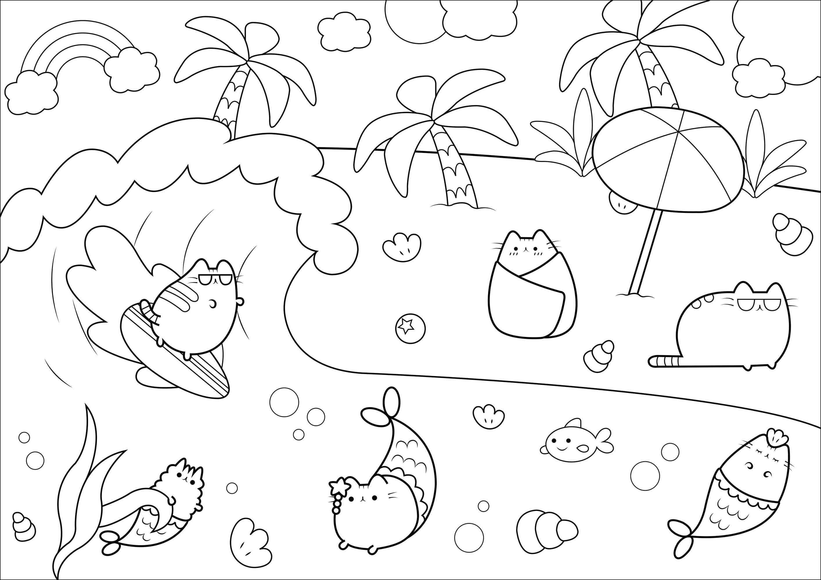 Chats Pusheen profitant de joyeuses vacances à la plage