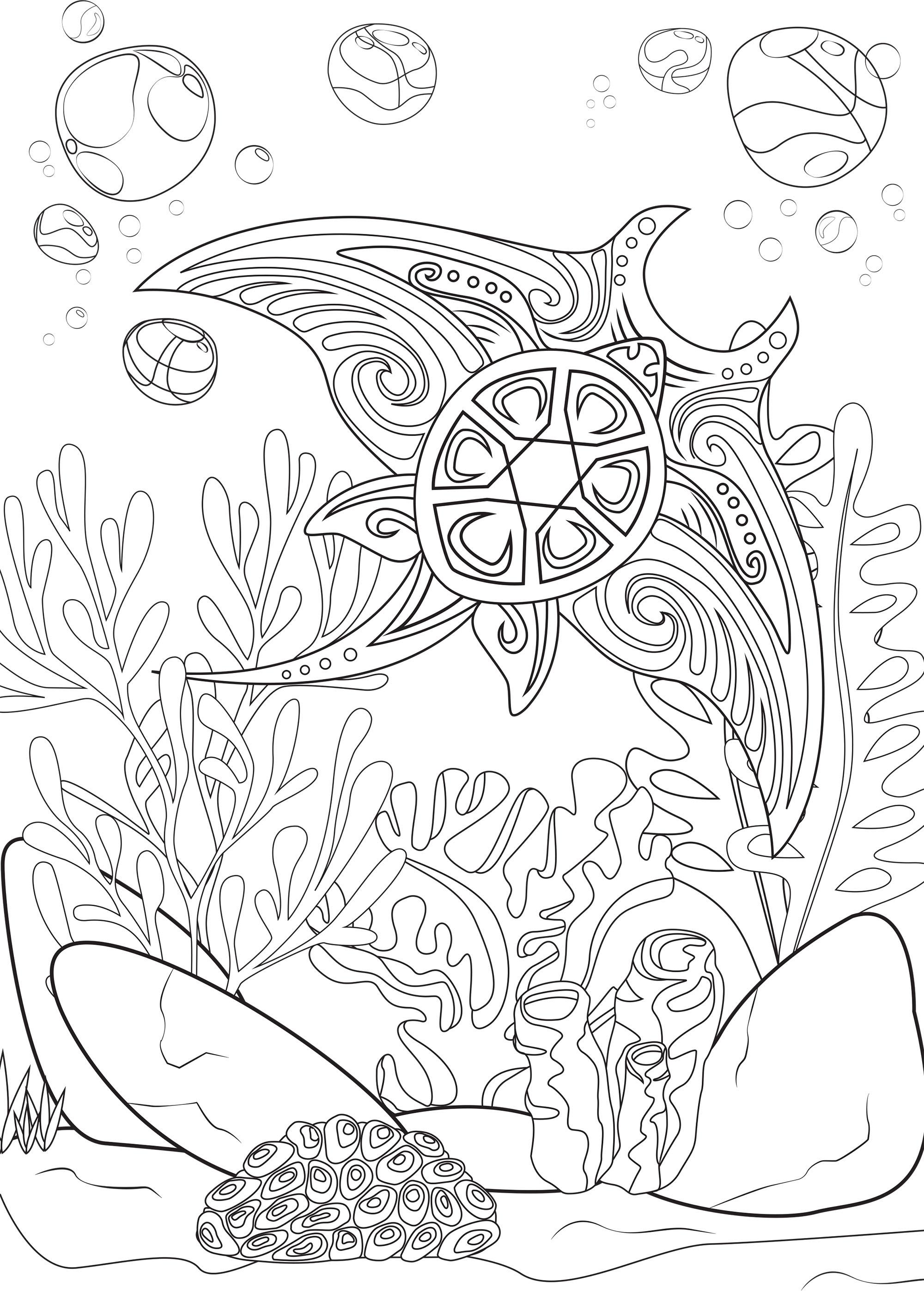 Cette jolie raie Manta maori flottant autour d'algues vous offre un moment de coloriage apaisant.