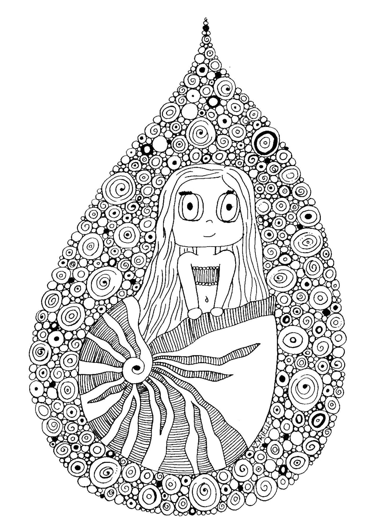 Sirene dans coquillage par azyrielle mondes aquatiques coloriages difficiles pour adultes - Sirene a colorier et imprimer ...