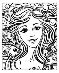 coloriage adulte visage sirene par natuskadpi