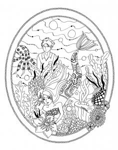 coloriage le jardin de la petite sirene par azyrielle