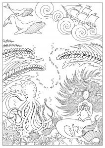 coloriage sirene et pieuvre konstantinos liaramantzas