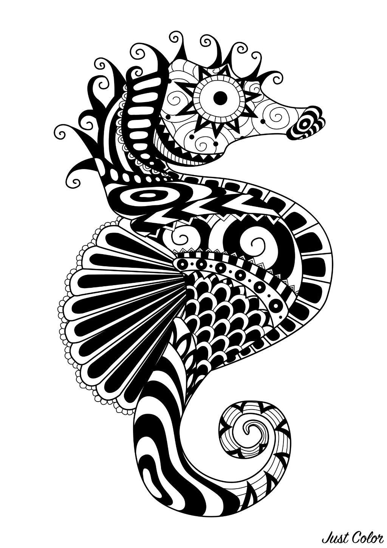 Un hyppocampe dessiné avec des motifs Zentangle simples, par Bimdeedee