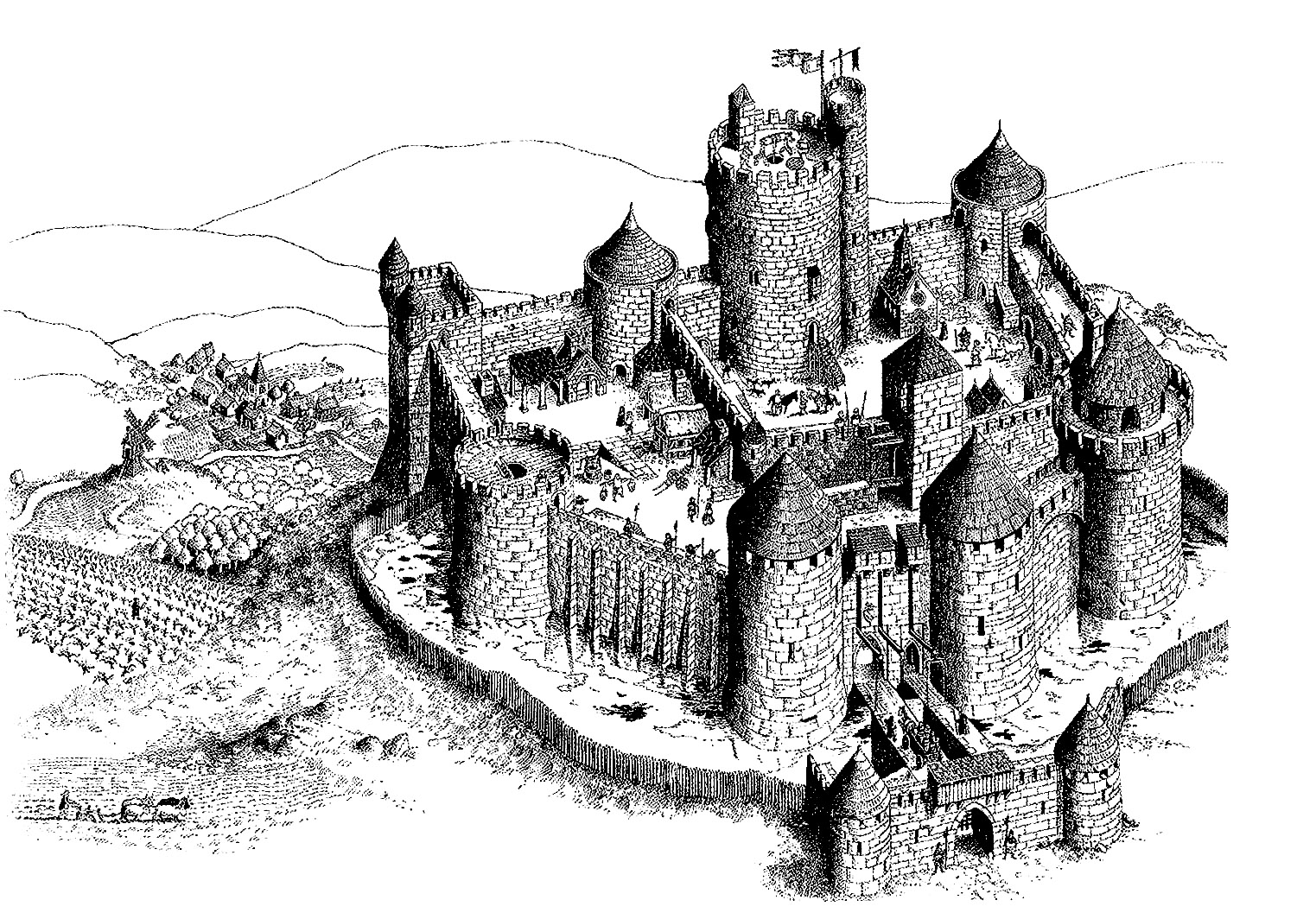 coloriage adulte chateau fort 2 free to print