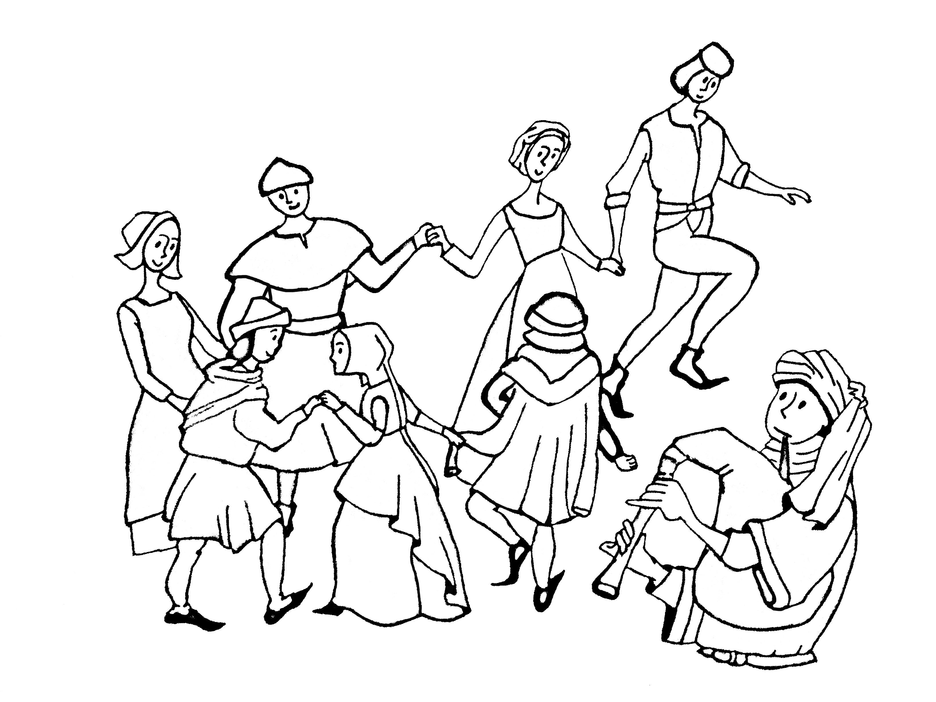 coloriage adulte moyen age danse free to print