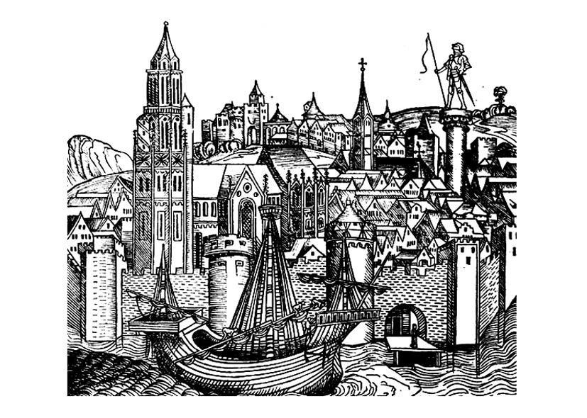 Paris (France) au Moyen-Age dans une représentation originale ne cherchant pas le réalisme à tout prix