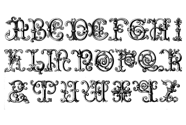 Dessin de lettre de l'alphabet datant du Moyen âge, destiné à la forgerie