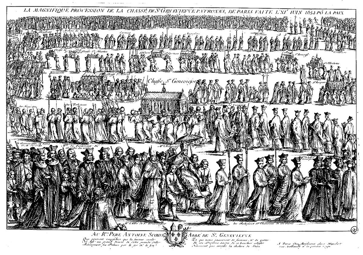 Une gravure d'une impressionnante procession religieuse, beaucoup de personnages à colorier ! | A partir de la galerie : Moyen Age