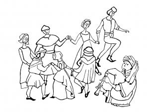 Coloriage adulte moyen age danse