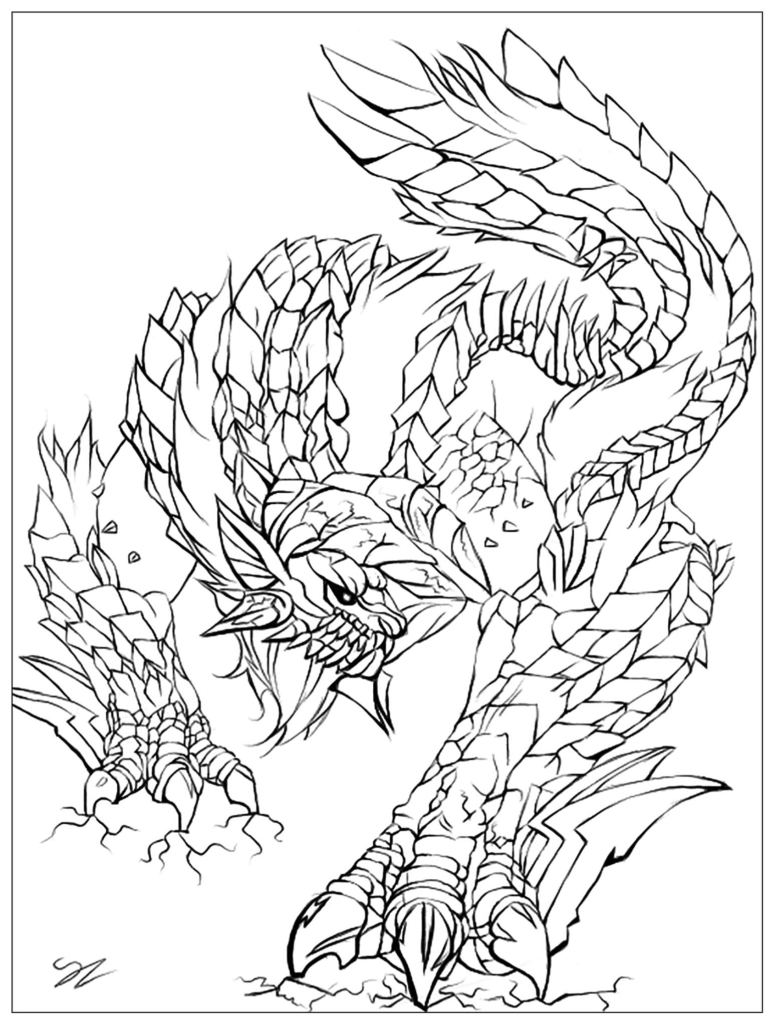 Coloriage d'un monstre alias le Zinogre du jeu Monster Hunter