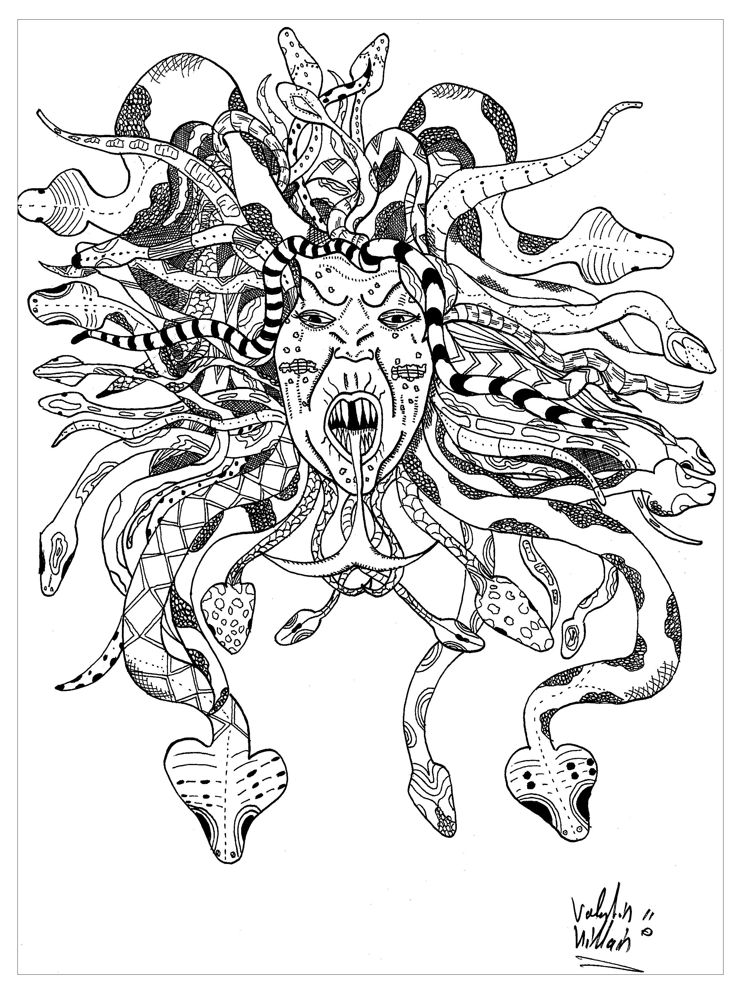Coloriage de Medusa et sa chevelure est entrelacée de serpents