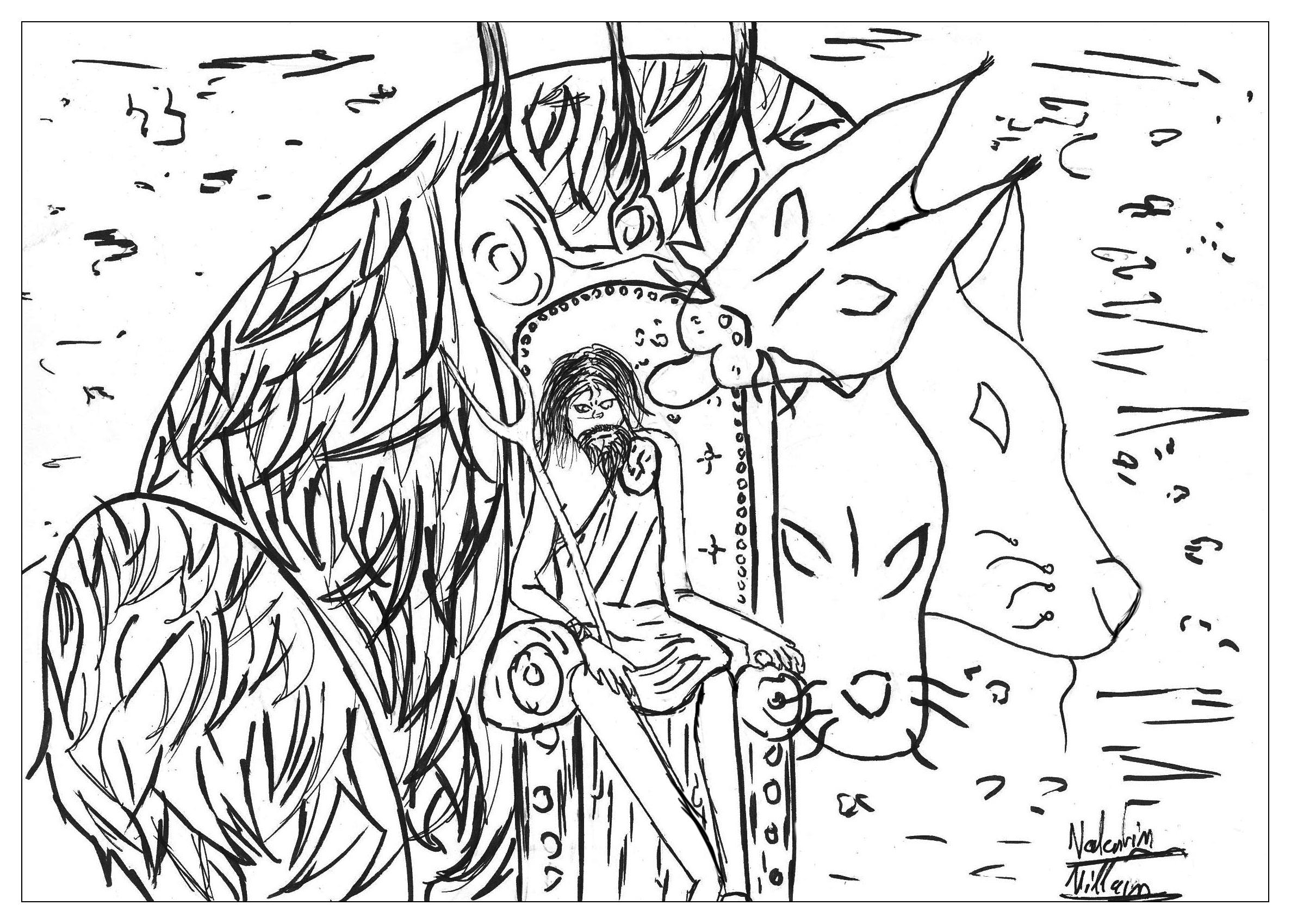 Le dieu de l'enfer Hades et son Cerber