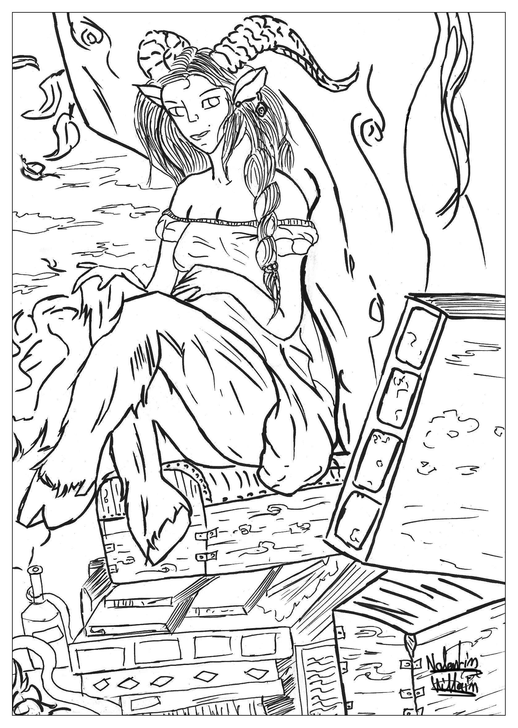 Un coloriage avec un Satyre, un personnage mythologique