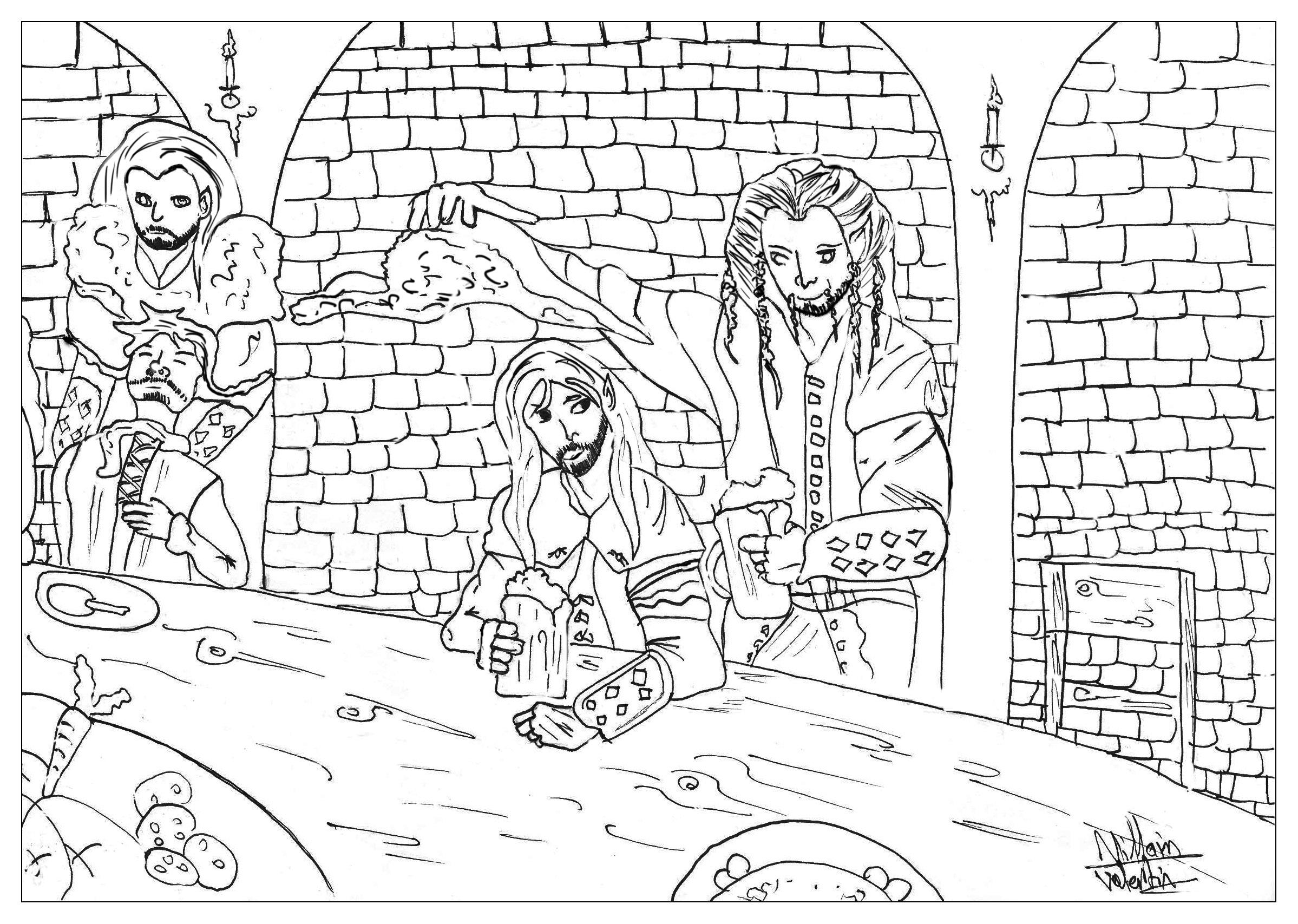 Une scène du Hobbit, dans la taverne