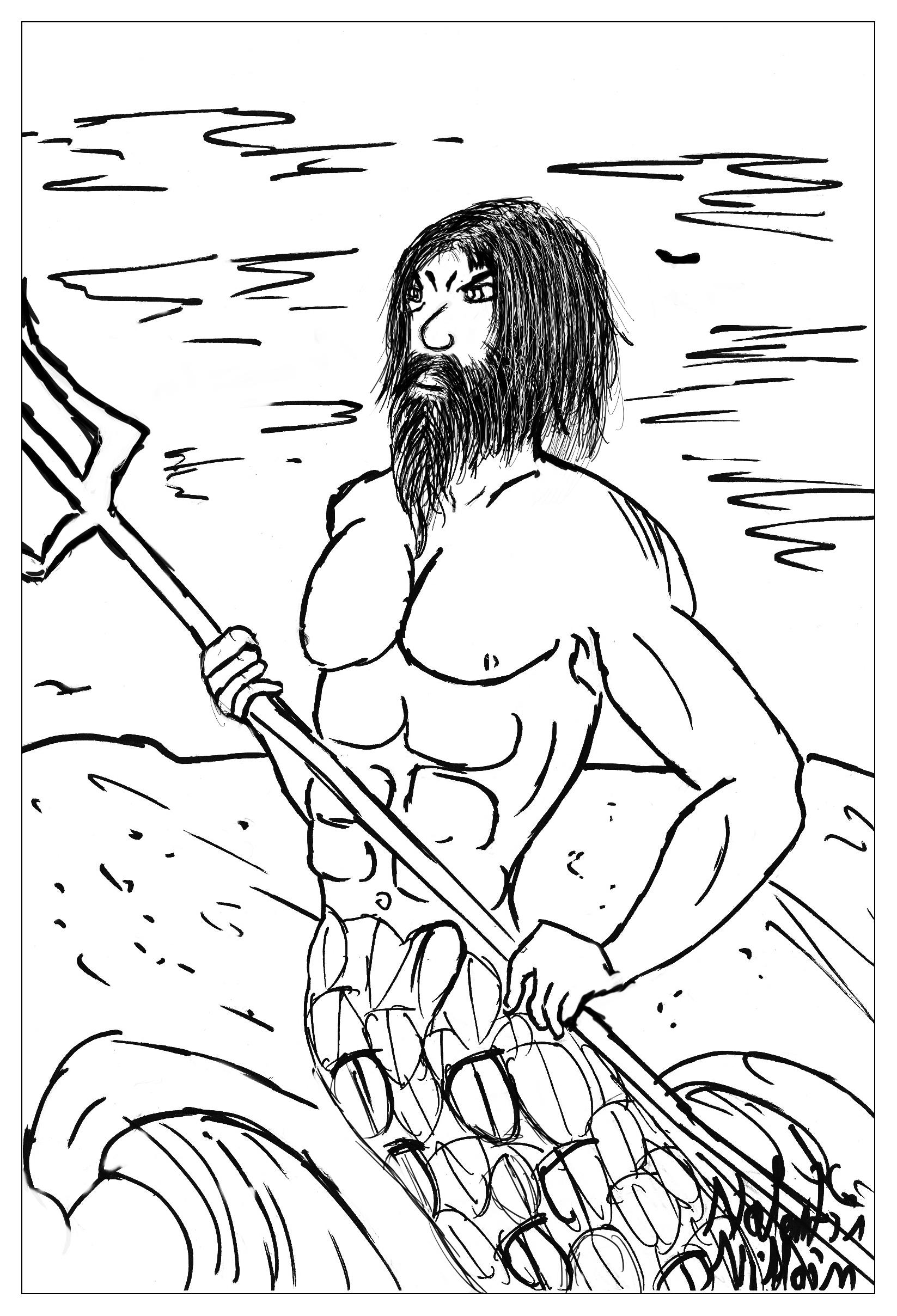 Poseidon, le dieu des mers et des oceans dans un coloriage.
