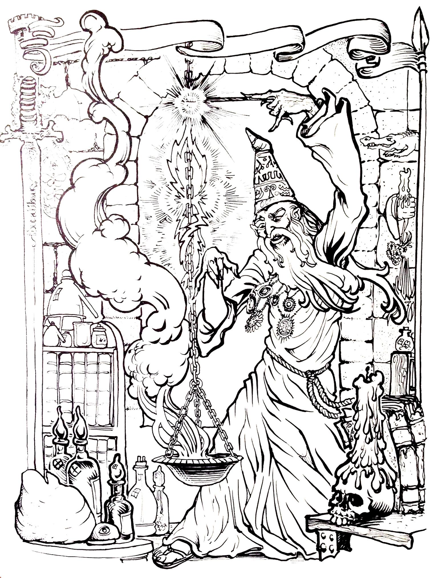 Merlin l'enchanteur dans un coloriage fourmillant de détails