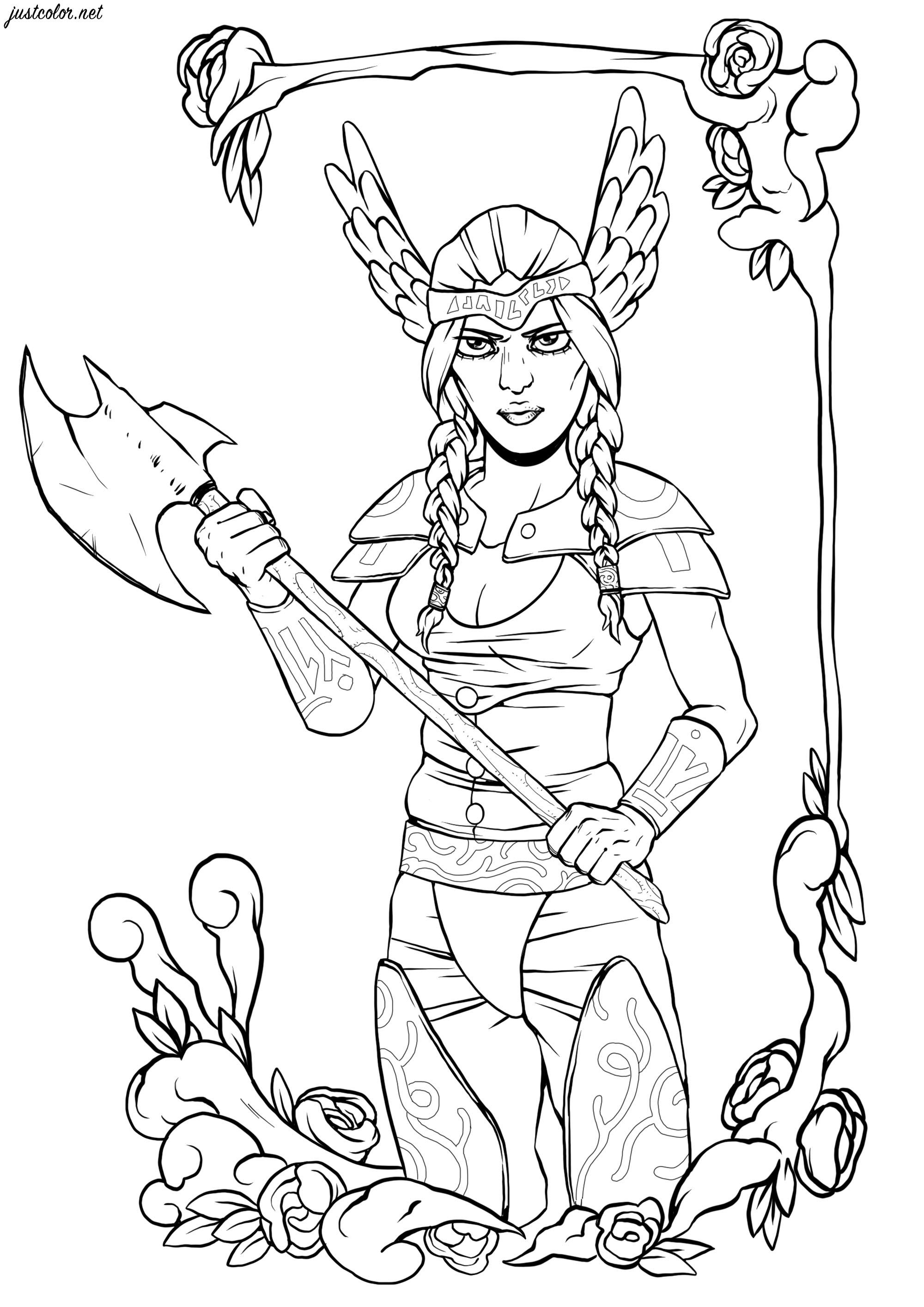 Cette guerrière viking est prête à se battre avec sa hache
